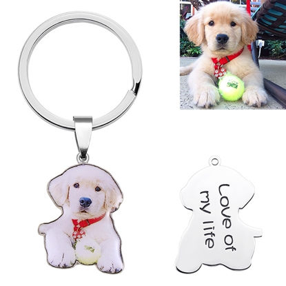 Picture of Engraved Stainless Steel Colorful Pet Photo Keychain