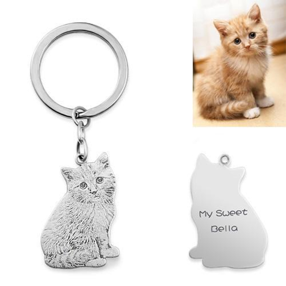 Picture of Engraved Pet Cat Photo Keychain in 925 Sterling Silver