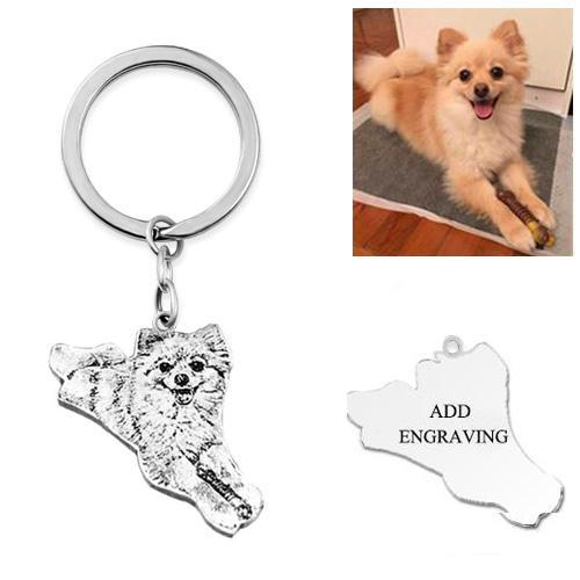 Picture of Engraved Pet Dog Photo Keychain in 925 Sterling Silver