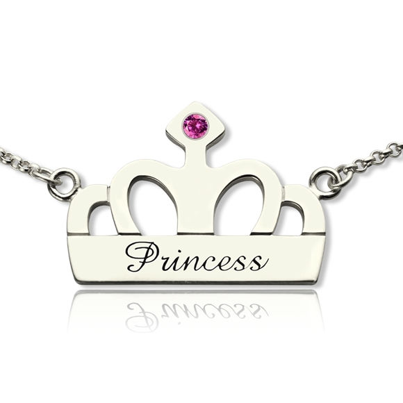 Picture of Crown Charm Necklace with Name & Birthstone in 925 Sterling Silver
