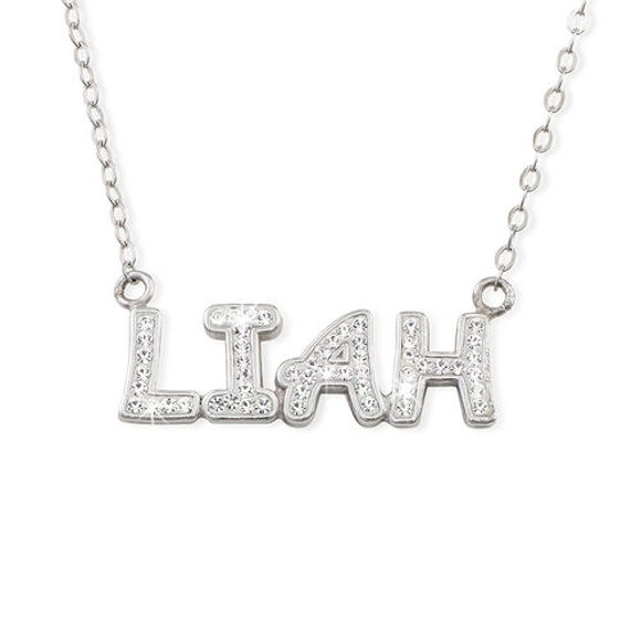 Picture of Name Necklace with Full of Birthstones in 925 Sterling Silver