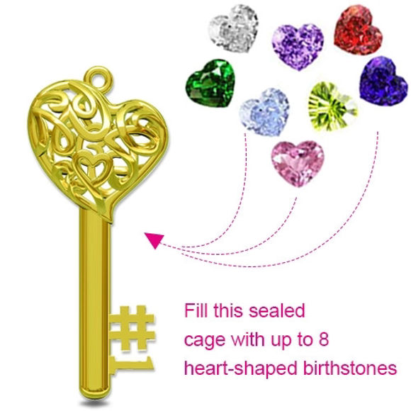 Picture of Moms Heart Cage Key Necklace With Birthstones in 925 Sterling Silver