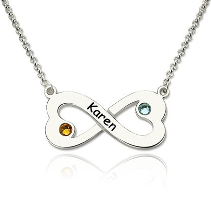 Picture of Engraved 925 Sterling Silver Infinity Heart Necklace