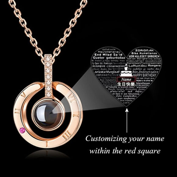 "Picture of Personalized Memorial Name Necklace with ""Happy birthday"" in 100 languages."