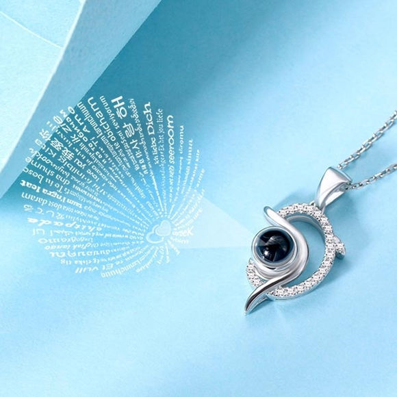 Picture of Dolphin Personalized Projection Name Necklace That Says I Love You in 100 Languages Sterling Silver