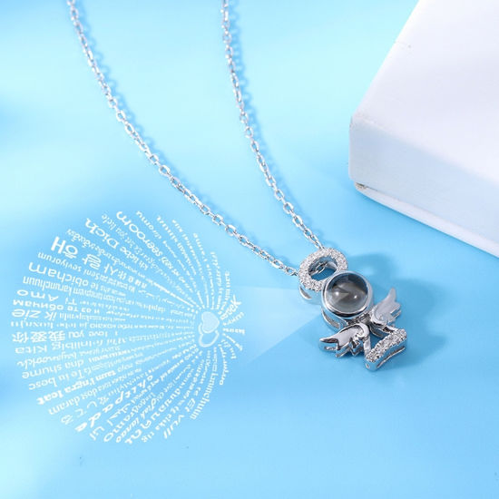 Imagen de Guardian Angel Personalized Projection Name Necklace  in 100 Languages Sterling Silver
