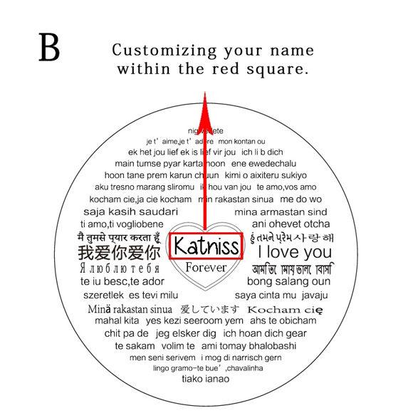 Image de Kitty Collier Personnalisé avec Nom de Projection qui dit que je T'aime en 100 Langues en Argent Sterling