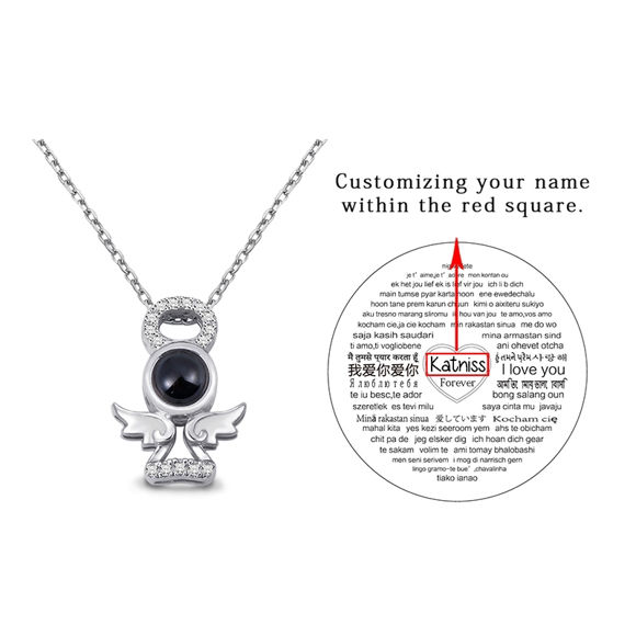 Picture of Guardian Angel Personalized Projection Name Necklace  in 100 Languages Sterling Silver