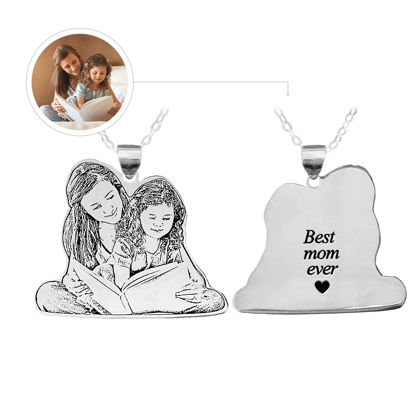 Image de Personalized Memorial Silhouette Necklace in 925 Sterling Silver