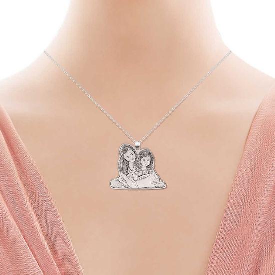 Immagine di Collana Memorial Silhouette personalizzata in argento sterling 925
