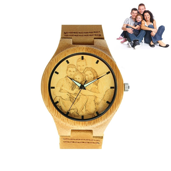 Imagen de Engraved Bamboo Wood Photo Watch