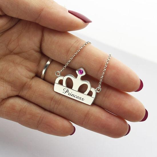 Immagine di Collana con ciondolo a corona con nome e pietra natale in argento sterling 925
