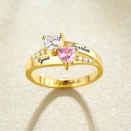 Imagen de Engraved Double Heart Birthstone Ring in 925 Sterling Silver
