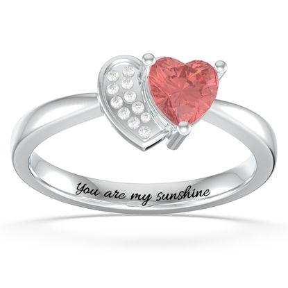 Imagen de Anillo personalizado de promesa de corazón en corazón con piedra de nacimiento en plata
