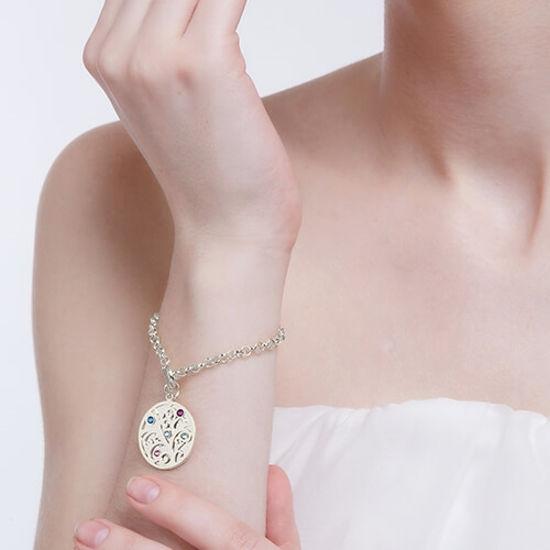Imagen de Engraved Family Tree Birthstone Bracelet Sterling Silver