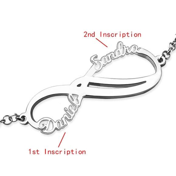 Immagine di Bracciale Infinity 2 nomi personalizzato in argento sterling