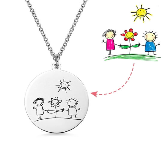 Imagen de Personalized Graffiti Disc Necklace in 925 Sterling Silver