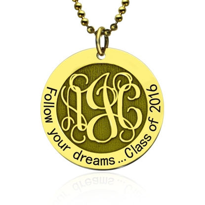 Picture of Follow Your Heart Monogram Necklace Graduation Necklace In Gold