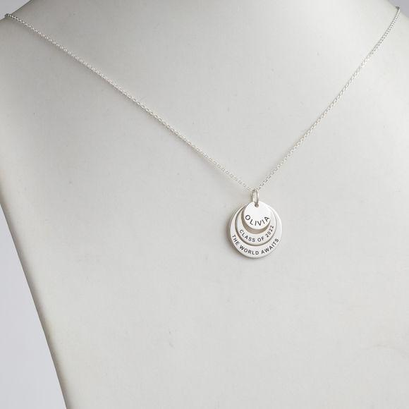 Imagen de Collar de círculos de anidación de graduación de plata esterlina