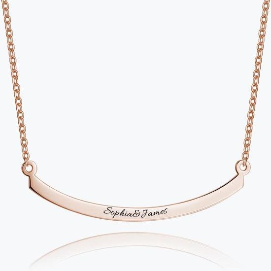 Imagen de Engraved Bar Necklace in 925 Sterling Silver
