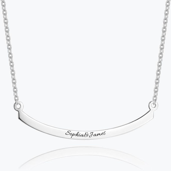 Picture of Engraved Bar Necklace in 925 Sterling Silver