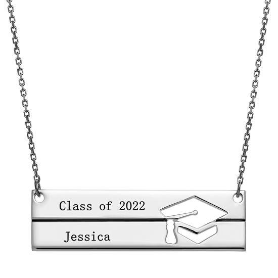 Imagen de Collar de barra de graduación de plata esterlina grabada