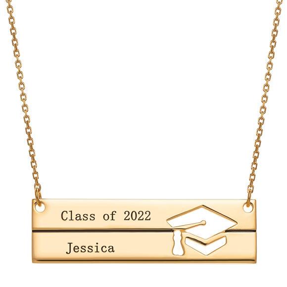 Bild von Sterling Silber Gravierte Graduation Bar Halskette