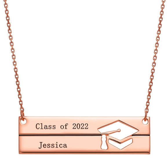 Picture of Sterling Silver Engraved Graduation Bar Necklace