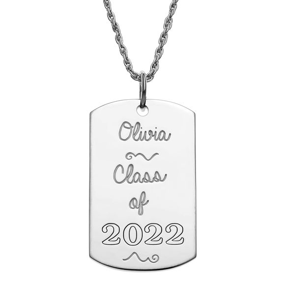 Picture of 925 Sterling Silver Graduation Dog Tag Pendant