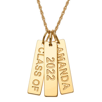 Picture of Gold Over Sterling Engraved Graduation 3 Tag Necklace