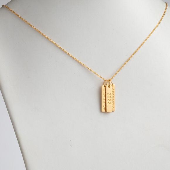Bild von Gold über Sterling gravierte Graduierung 3 Tag Halskette