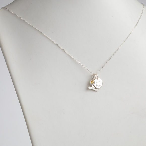Picture of Sterling Silver Graduation Cluster Charm Necklace With Birthstone