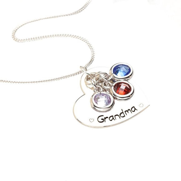 Picture of Sterling Silver Engraved Heart With Birthstones Pendant