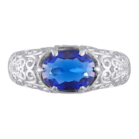 Imagen de Gold 925 Sterling Oval Birthstone Class Ring With Filigree Hidden Year