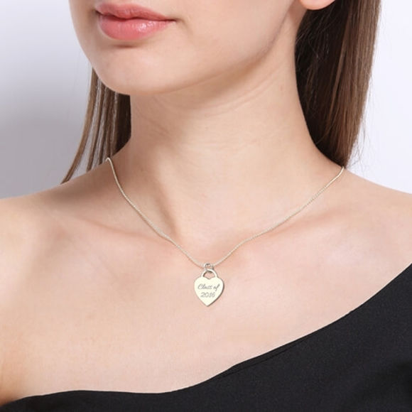 Picture of Engraved Name Heart Class Of…Graduate Necklace 18k Gold Plated