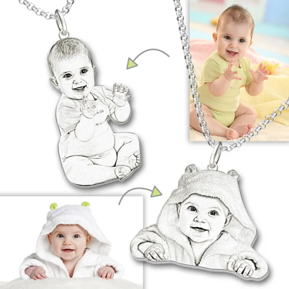 Picture of Women's Photo Engraved Tag Necklace Silver
