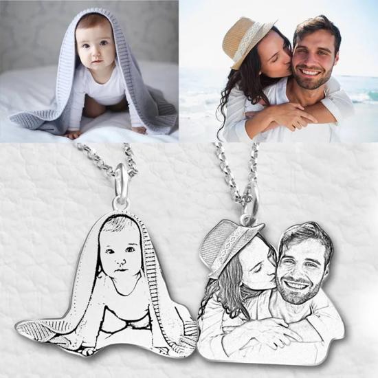 Imagen de Women's Photo Engraved Tag Necklace Silver
