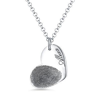 Imagen de Personalized Fingerprint Heart Necklace With Name