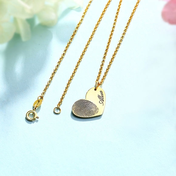 Picture of Personalized Fingerprint Heart Necklace With Name