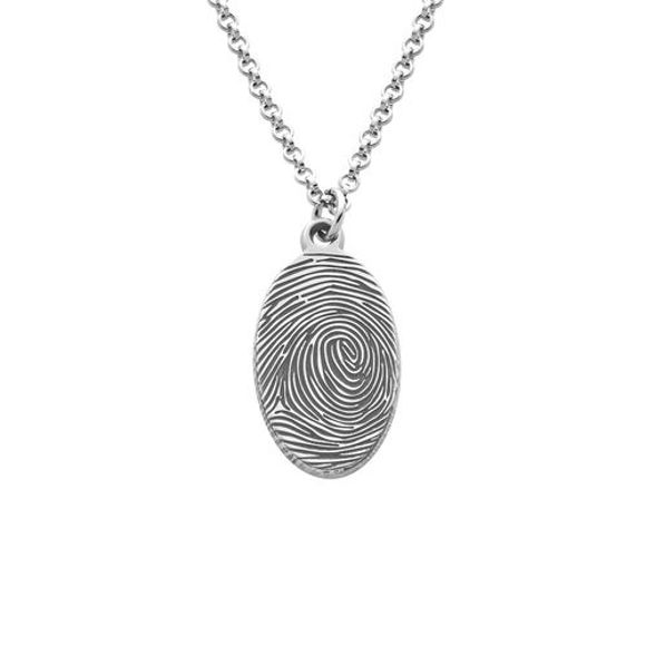 Image de Collier ovale d'empreintes digitales en argent sterling