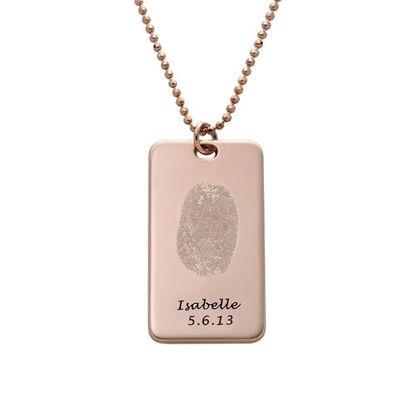 Imagen de Fingerprint Tag Necklace in 925 Sterling Silver