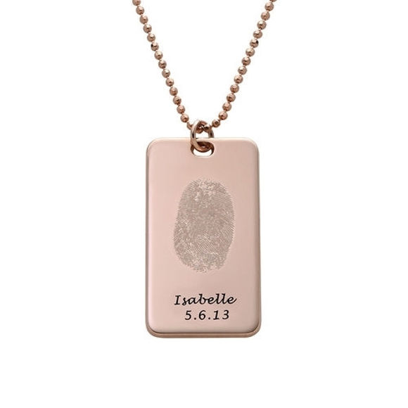 Picture of Fingerprint Tag Necklace in 925 Sterling Silver