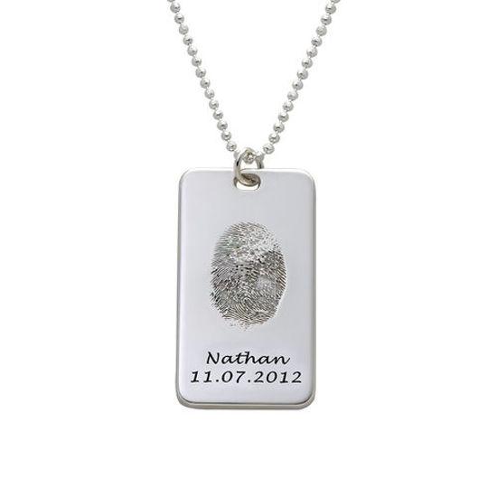 Immagine di Collana con etichetta per impronte digitali in argento sterling 925