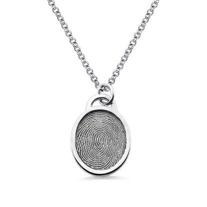 Imagen de Personalized Fingerprint Ellipse Necklace Sterling Silver