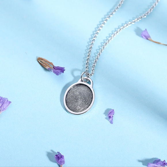Picture of Personalized Fingerprint Ellipse Necklace Sterling Silver
