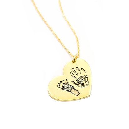 Imagen de Engraved Fingerprint Handwriting Heart Pendant Necklace in Sterling Silver