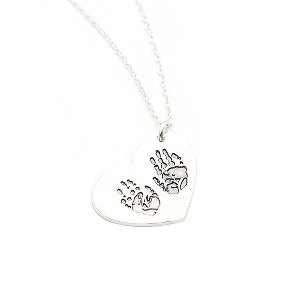 Picture of Engraved Fingerprint Handwriting Heart Pendant Necklace in Sterling Silver