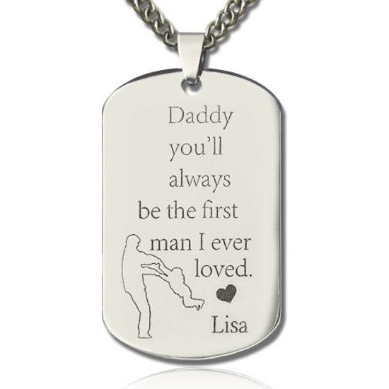 Immagine di Collana con nome con piastrina per cani Love's Father in acciaio al titanio