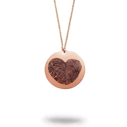 Imagen de Actual Fingerprint Heart Silver Necklace - Custom Fingerprint Jewelry