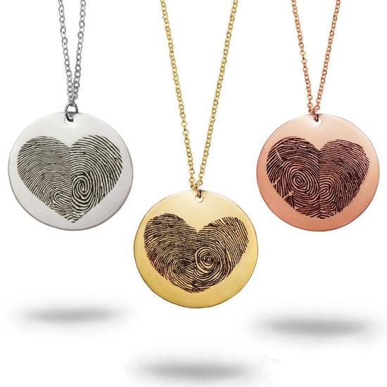 Immagine di Collana in argento con cuore di impronte digitali reali - Gioielli personalizzati per impronte digitali